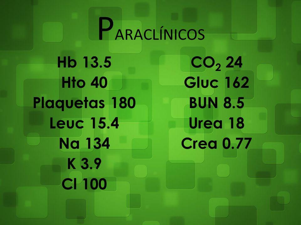 P ARACLÍNICOS Hb 13.5 Hto 40 Plaquetas 180 Leuc 15.4 Na 134 K 3.9 Cl 100 CO 2 24 Gluc 162 BUN 8.5 Urea 18 Crea 0.77