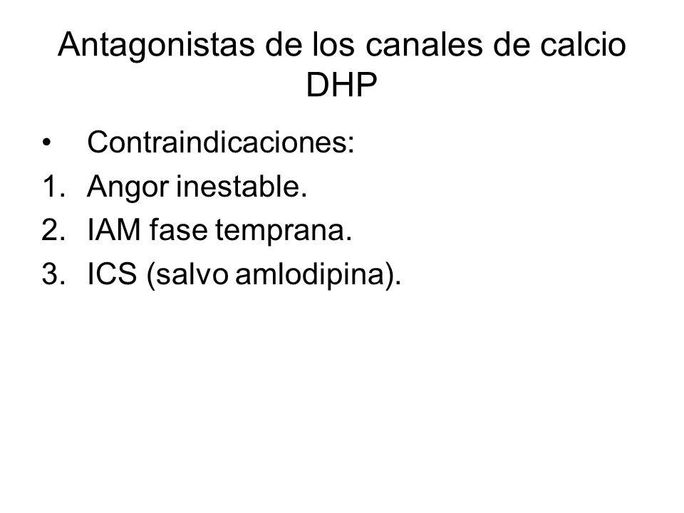Antagonistas de los canales de calcio DHP Contraindicaciones: 1.Angor inestable. 2.IAM fase temprana. 3.ICS (salvo amlodipina).