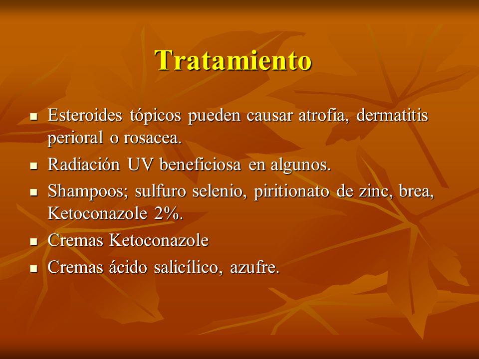 Tratamiento Esteroides tópicos pueden causar atrofia, dermatitis perioral o rosacea. Esteroides tópicos pueden causar atrofia, dermatitis perioral o r