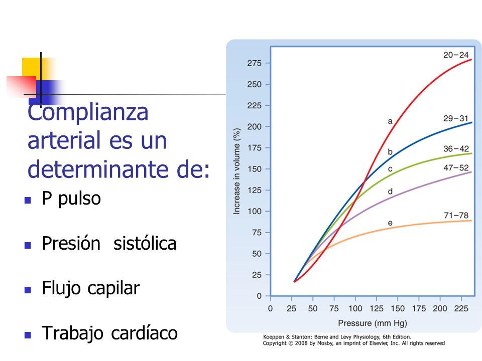 Complianza arterial es un determinante de: P pulso Presión sistólica Flujo capilar Trabajo cardíaco