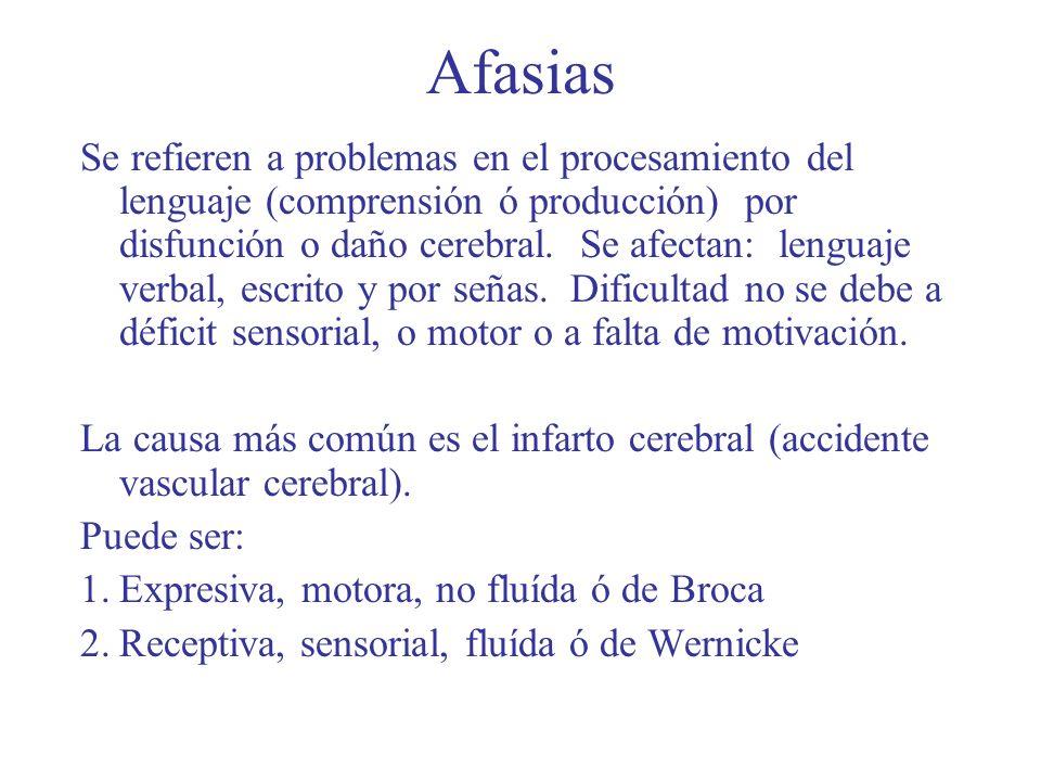 Afasias Se refieren a problemas en el procesamiento del lenguaje (comprensión ó producción) por disfunción o daño cerebral. Se afectan: lenguaje verba
