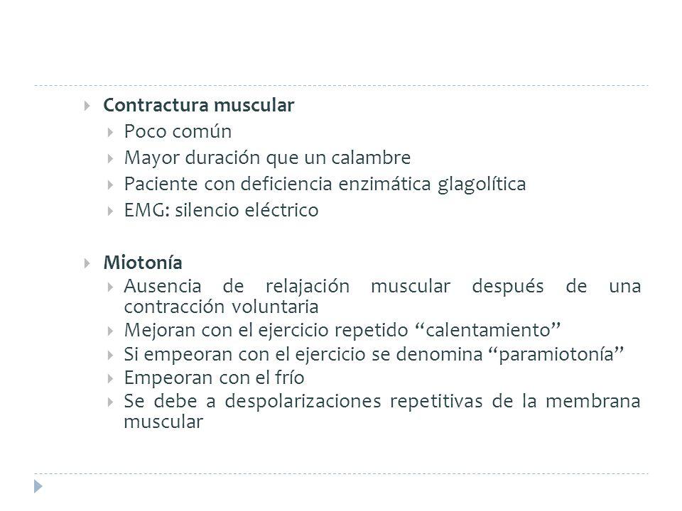 Contractura muscular Poco común Mayor duración que un calambre Paciente con deficiencia enzimática glagolítica EMG: silencio eléctrico Miotonía Ausenc