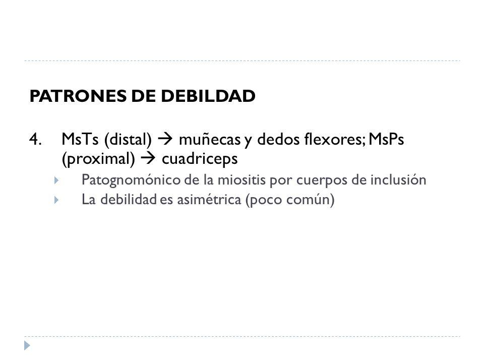PATRONES DE DEBILDAD 4. MsTs (distal) muñecas y dedos flexores; MsPs (proximal) cuadriceps Patognomónico de la miositis por cuerpos de inclusión La de