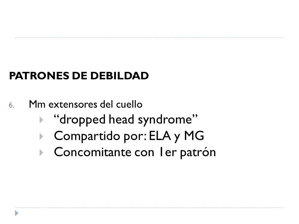 PATRONES DE DEBILDAD 6. Mm extensores del cuello dropped head syndrome Compartido por: ELA y MG Concomitante con 1er patrón Goldman: Cecil Medicine, 2