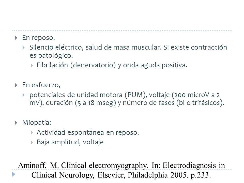 En reposo. Silencio eléctrico, salud de masa muscular. Si existe contracción es patológico. Fibrilación (denervatorio) y onda aguda positiva. En esfue