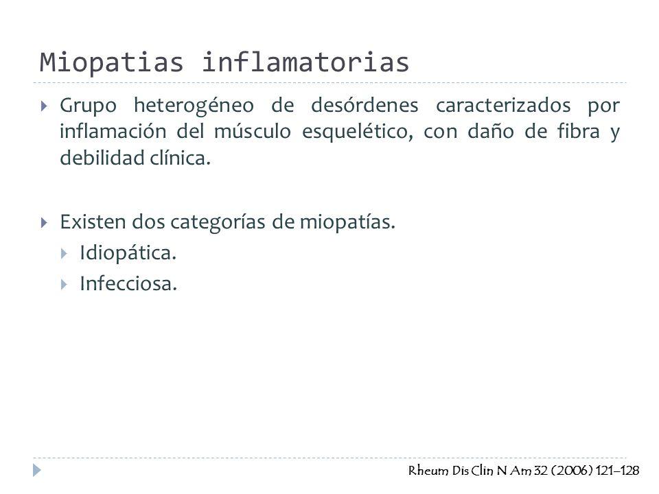 Grupo heterogéneo de desórdenes caracterizados por inflamación del músculo esquelético, con daño de fibra y debilidad clínica. Existen dos categorías