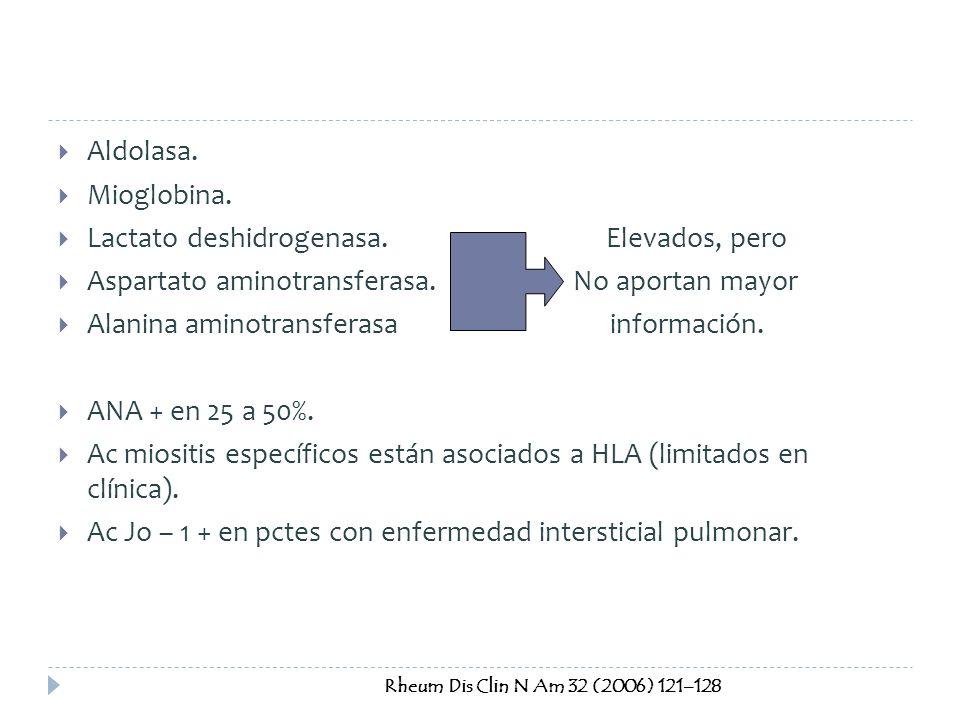 Aldolasa. Mioglobina. Lactato deshidrogenasa. Elevados, pero Aspartato aminotransferasa. No aportan mayor Alanina aminotransferasa información. ANA +