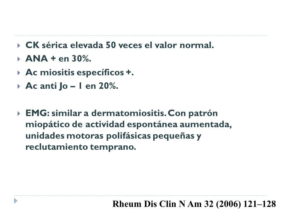 CK sérica elevada 50 veces el valor normal. ANA + en 30%. Ac miositis específicos +. Ac anti Jo – 1 en 20%. EMG: similar a dermatomiositis. Con patrón