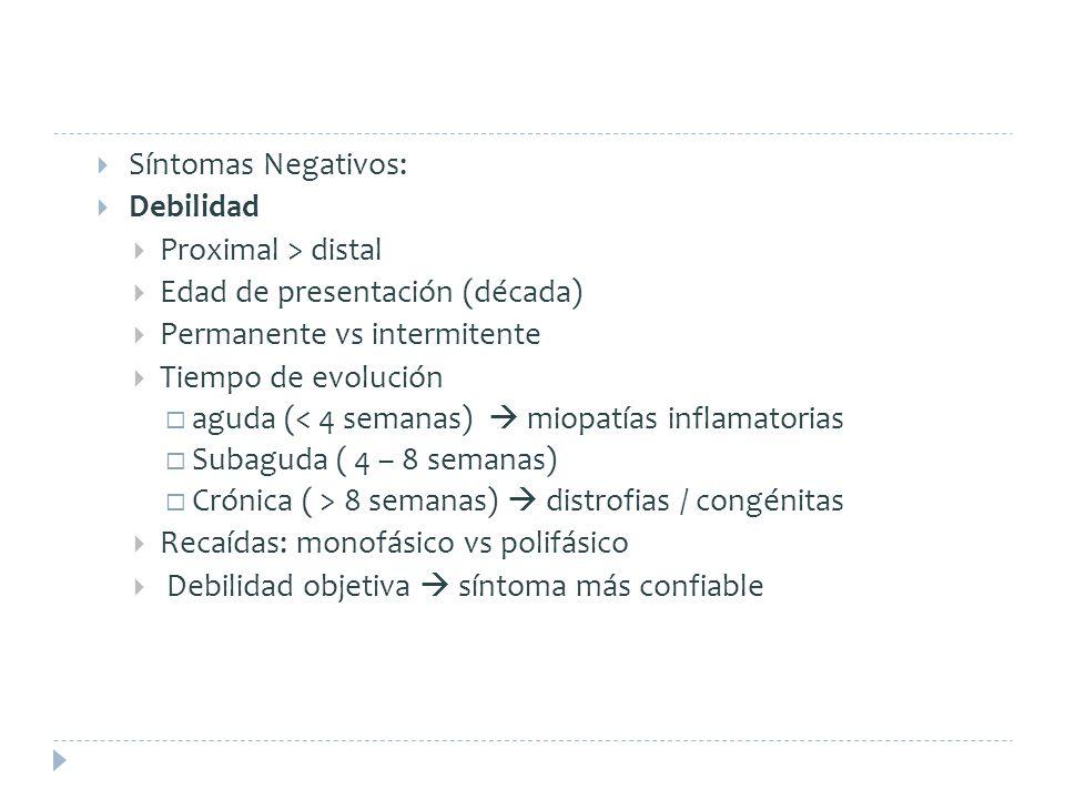 Síntomas Negativos: Debilidad Proximal > distal Edad de presentación (década) Permanente vs intermitente Tiempo de evolución aguda (< 4 semanas) miopa