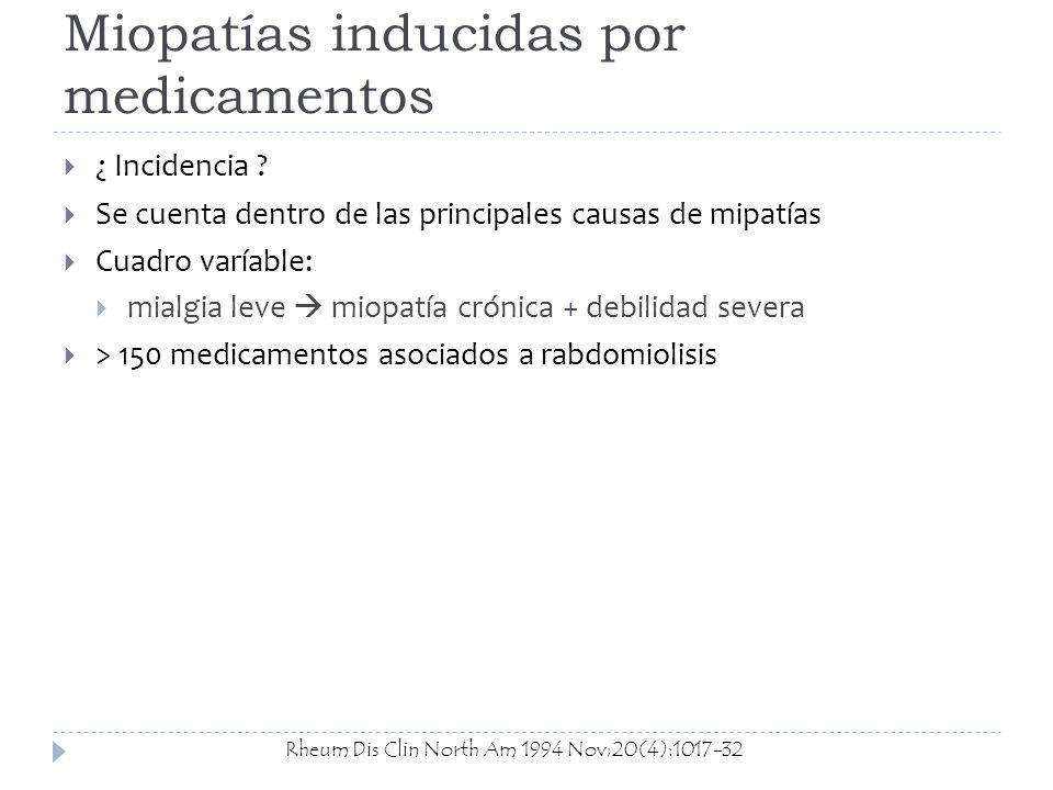 Miopatías inducidas por medicamentos ¿ Incidencia ? Se cuenta dentro de las principales causas de mipatías Cuadro varíable: mialgia leve miopatía crón