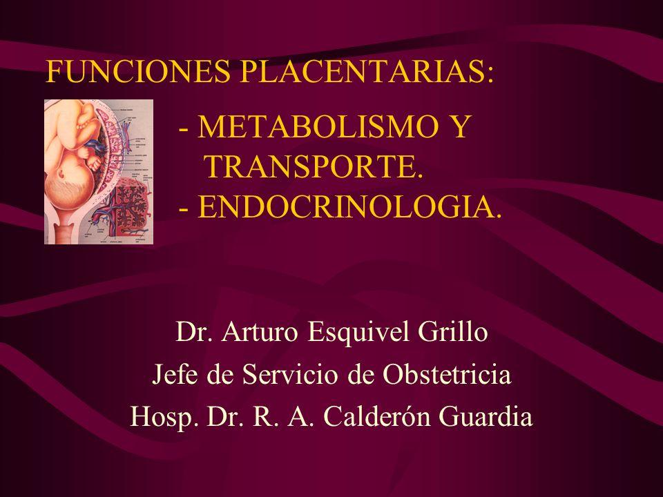 FUNCIONES PLACENTARIAS: - METABOLISMO Y TRANSPORTE. - ENDOCRINOLOGIA. Dr. Arturo Esquivel Grillo Jefe de Servicio de Obstetricia Hosp. Dr. R. A. Calde