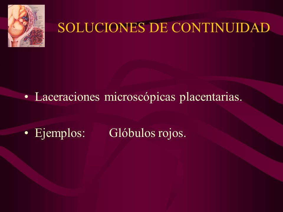 SOLUCIONES DE CONTINUIDAD Laceraciones microscópicas placentarias. Ejemplos:Glóbulos rojos.
