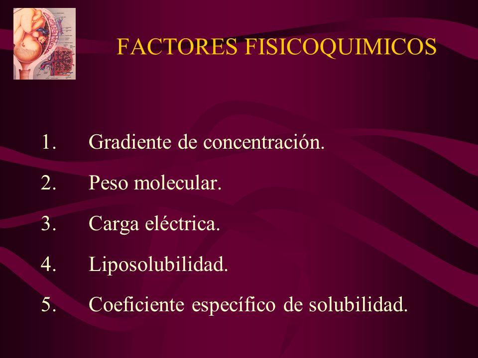 FACTORES FISICOQUIMICOS 1.Gradiente de concentración. 2.Peso molecular. 3.Carga eléctrica. 4.Liposolubilidad. 5.Coeficiente específico de solubilidad.