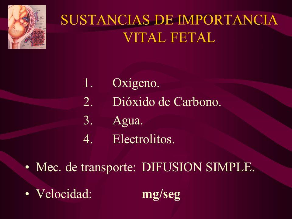 SUSTANCIAS DE IMPORTANCIA VITAL FETAL 1.Oxígeno. 2.Dióxido de Carbono. 3.Agua. 4. Electrolitos. Mec. de transporte:DIFUSION SIMPLE. Velocidad:mg/seg