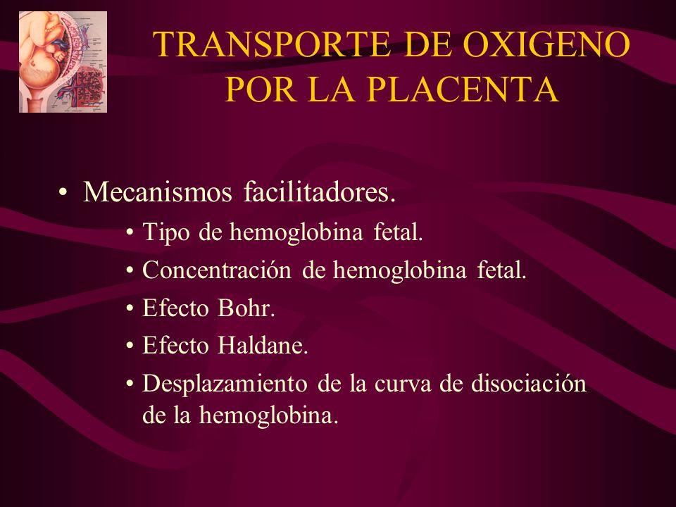 TRANSPORTE DE OXIGENO POR LA PLACENTA Mecanismos facilitadores. Tipo de hemoglobina fetal. Concentración de hemoglobina fetal. Efecto Bohr. Efecto Hal