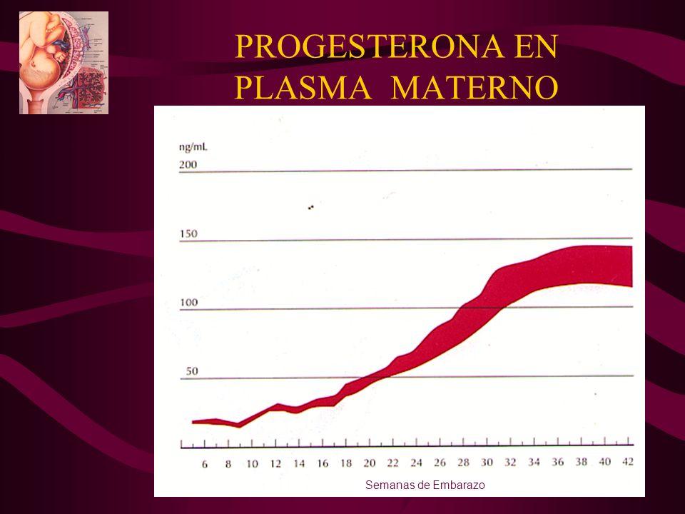 PROGESTERONA EN PLASMA MATERNO Semanas de Embarazo