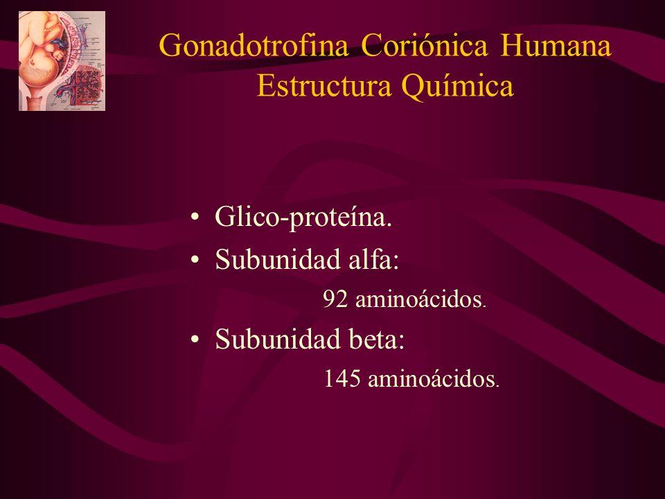 Gonadotrofina Coriónica Humana Estructura Química Glico-proteína. Subunidad alfa: 92 aminoácidos. Subunidad beta: 145 aminoácidos.