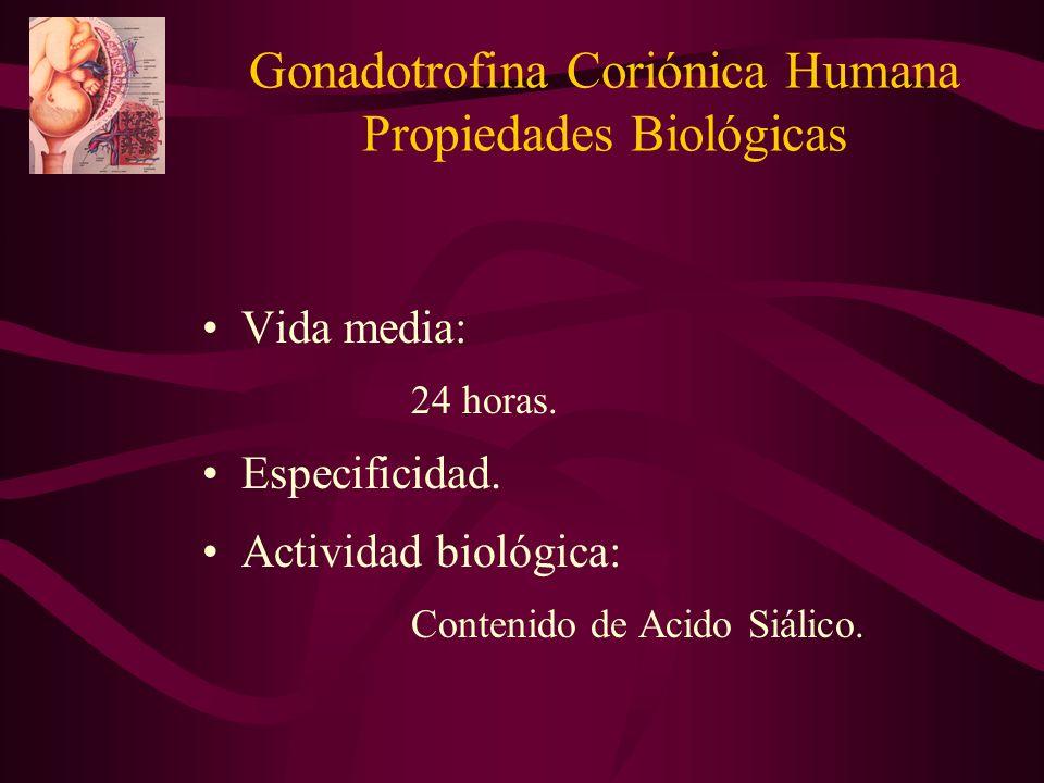 Vida media: 24 horas. Especificidad. Actividad biológica: Contenido de Acido Siálico. Gonadotrofina Coriónica Humana Propiedades Biológicas