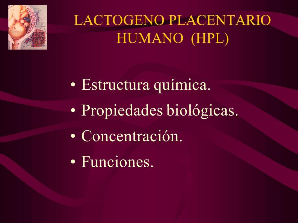 LACTOGENO PLACENTARIO HUMANO (HPL) Estructura química. Propiedades biológicas. Concentración. Funciones.