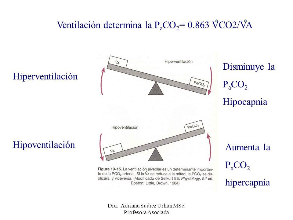 Ventilación determina la P a CO 2 = 0.863 VCO2/VA Hiperventilación Hipoventilación Disminuye la P a CO 2 Hipocapnia Aumenta la P a CO 2 hipercapnia Dr