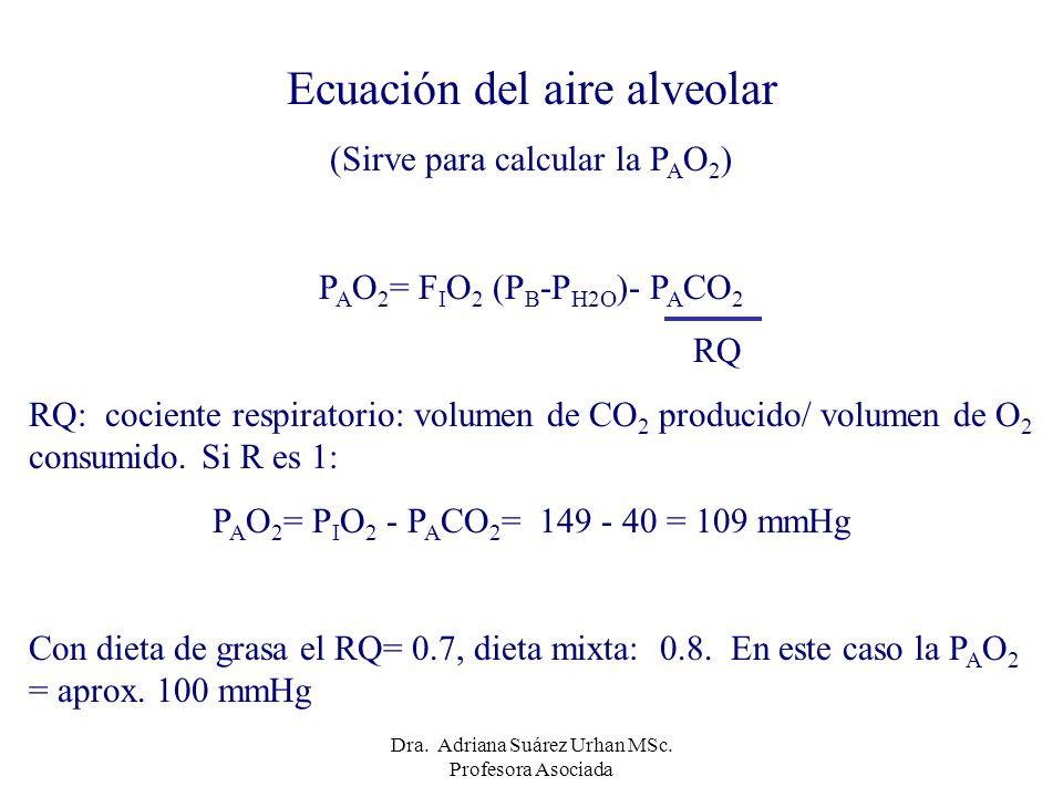 Ecuación del aire alveolar (Sirve para calcular la P A O 2 ) P A O 2 = F I O 2 (P B -P H2O )- P A CO 2 RQ RQ: cociente respiratorio: volumen de CO 2 p
