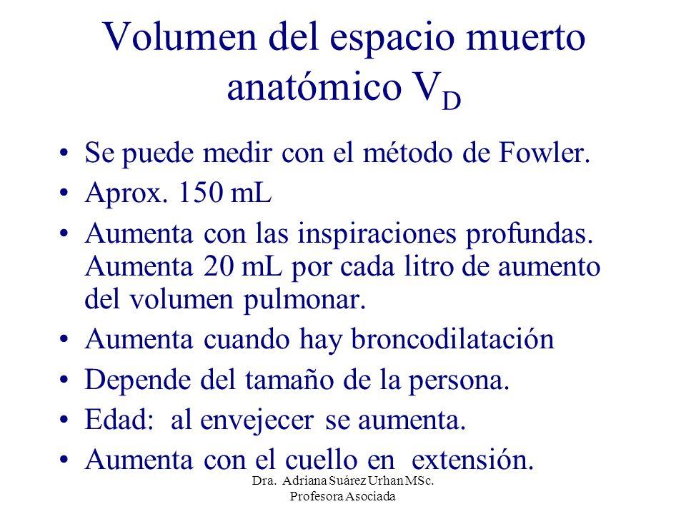 Volumen del espacio muerto anatómico V D Se puede medir con el método de Fowler. Aprox. 150 mL Aumenta con las inspiraciones profundas. Aumenta 20 mL