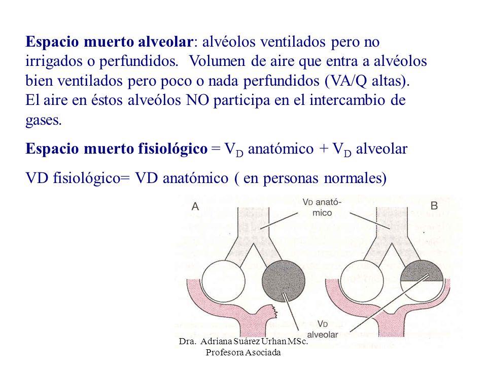 Espacio muerto alveolar: alvéolos ventilados pero no irrigados o perfundidos. Volumen de aire que entra a alvéolos bien ventilados pero poco o nada pe