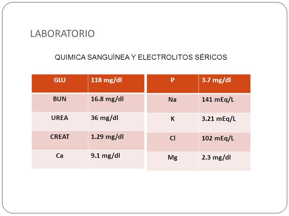 LABORATORIO GLU118 mg/dl BUN16.8 mg/dl UREA36 mg/dl CREAT1.29 mg/dl Ca9.1 mg/dl P3.7 mg/dl Na141 mEq/L K3.21 mEq/L Cl102 mEq/L Mg2.3 mg/dl QUIMICA SAN