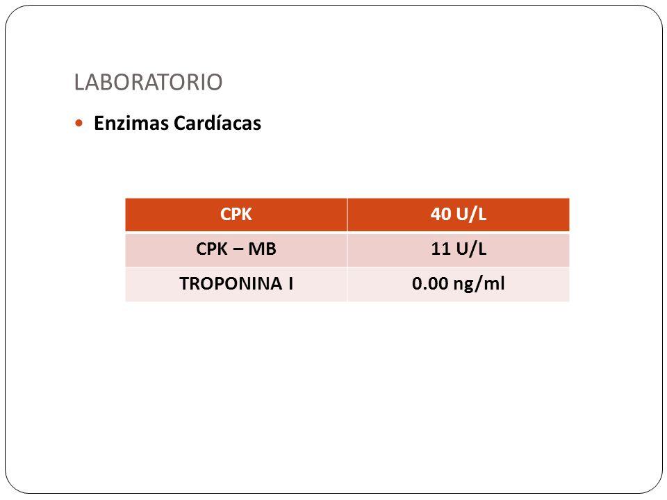 LABORATORIO Enzimas Cardíacas CPK40 U/L CPK – MB11 U/L TROPONINA I0.00 ng/ml