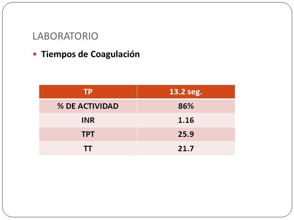 LABORATORIO Tiempos de Coagulación TP13.2 seg. % DE ACTIVIDAD86% INR1.16 TPT25.9 TT21.7