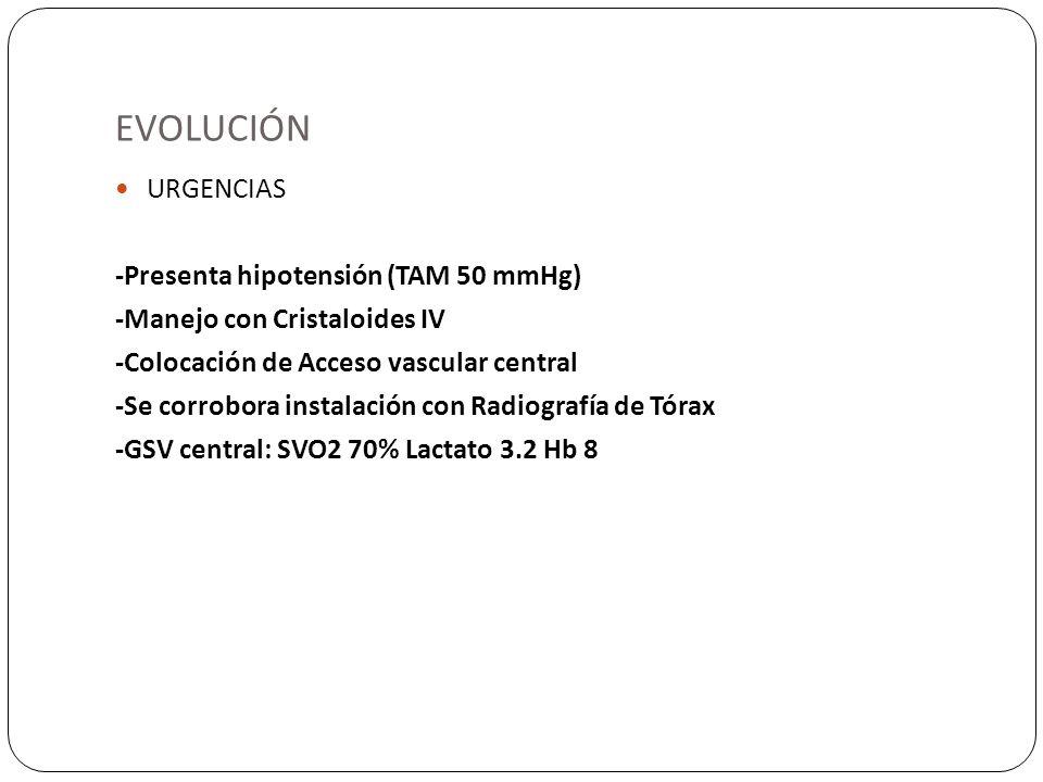 EVOLUCIÓN URGENCIAS -Presenta hipotensión (TAM 50 mmHg) -Manejo con Cristaloides IV -Colocación de Acceso vascular central -Se corrobora instalación c