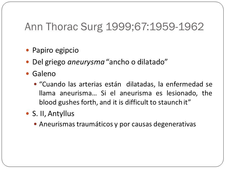 Ann Thorac Surg 1999;67:1959-1962 Papiro egipcio Del griego aneurysma ancho o dilatado Galeno Cuando las arterias están dilatadas, la enfermedad se ll