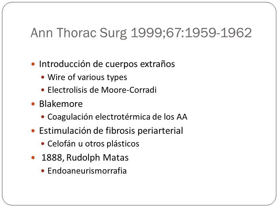 Ann Thorac Surg 1999;67:1959-1962 Introducción de cuerpos extraños Wire of various types Electrolisis de Moore-Corradi Blakemore Coagulación electroté