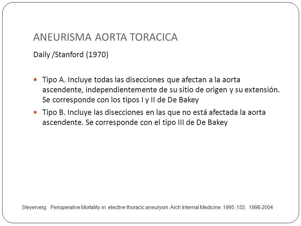 ANEURISMA AORTA TORACICA Daily /Stanford (1970) Tipo A. Incluye todas las disecciones que afectan a la aorta ascendente, independientemente de su siti