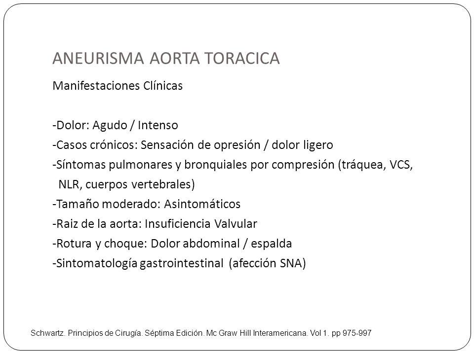 ANEURISMA AORTA TORACICA Manifestaciones Clínicas -Dolor: Agudo / Intenso -Casos crónicos: Sensación de opresión / dolor ligero -Síntomas pulmonares y
