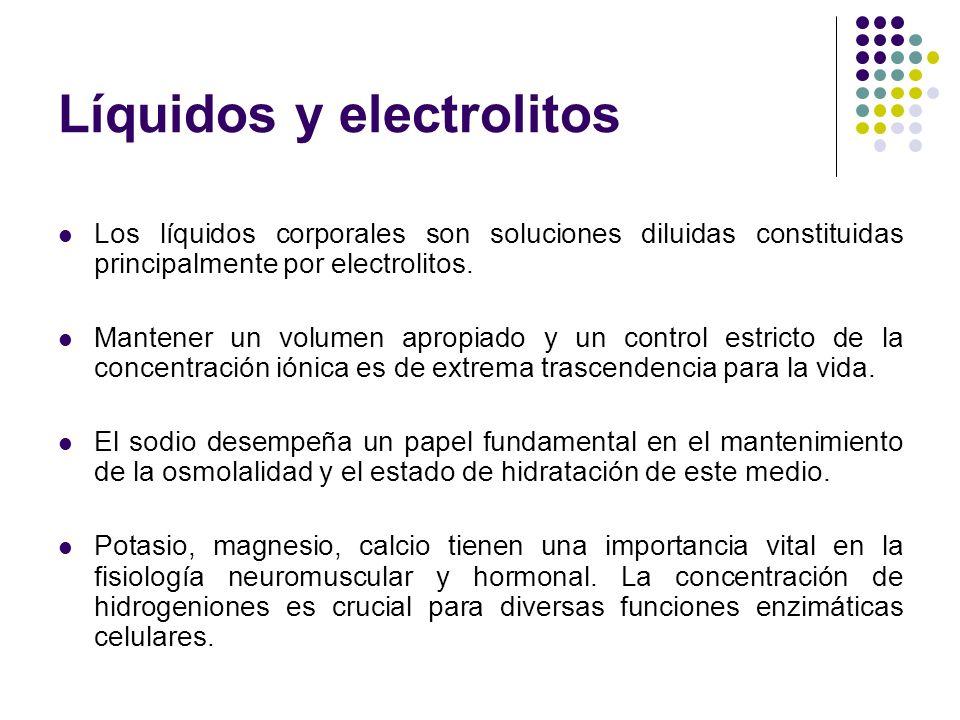 Líquidos y electrolitos Los líquidos corporales son soluciones diluidas constituidas principalmente por electrolitos. Mantener un volumen apropiado y