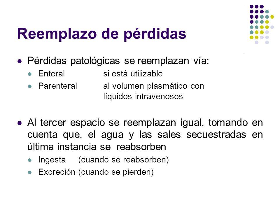 Reemplazo de pérdidas Pérdidas patológicas se reemplazan vía: Enteral si está utilizable Parenteral al volumen plasmático con líquidos intravenosos Al