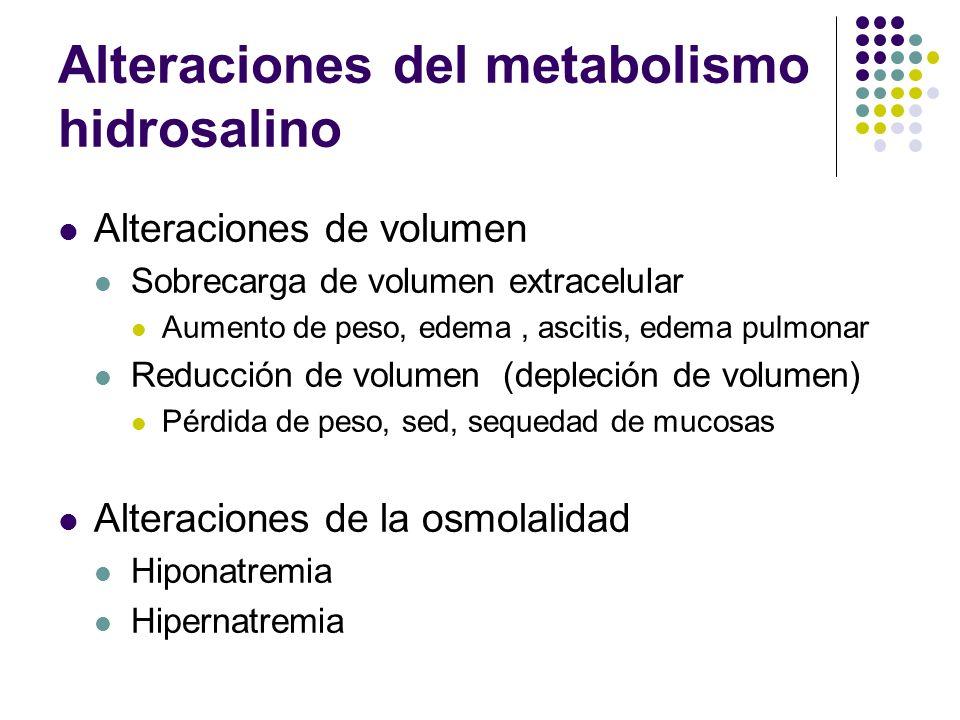 Alteraciones del metabolismo hidrosalino Alteraciones de volumen Sobrecarga de volumen extracelular Aumento de peso, edema, ascitis, edema pulmonar Re