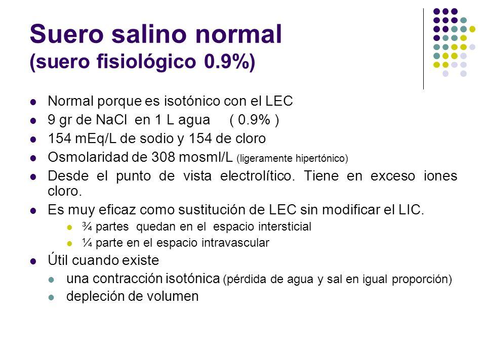 Suero salino normal (suero fisiológico 0.9%) Normal porque es isotónico con el LEC 9 gr de NaCl en 1 L agua ( 0.9% ) 154 mEq/L de sodio y 154 de cloro
