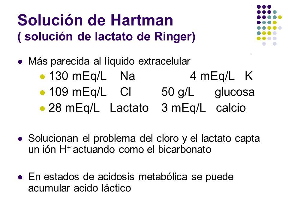 Solución de Hartman ( solución de lactato de Ringer) Más parecida al líquido extracelular 130 mEq/L Na4 mEq/L K 109 mEq/L Cl50 g/L glucosa 28 mEq/L La
