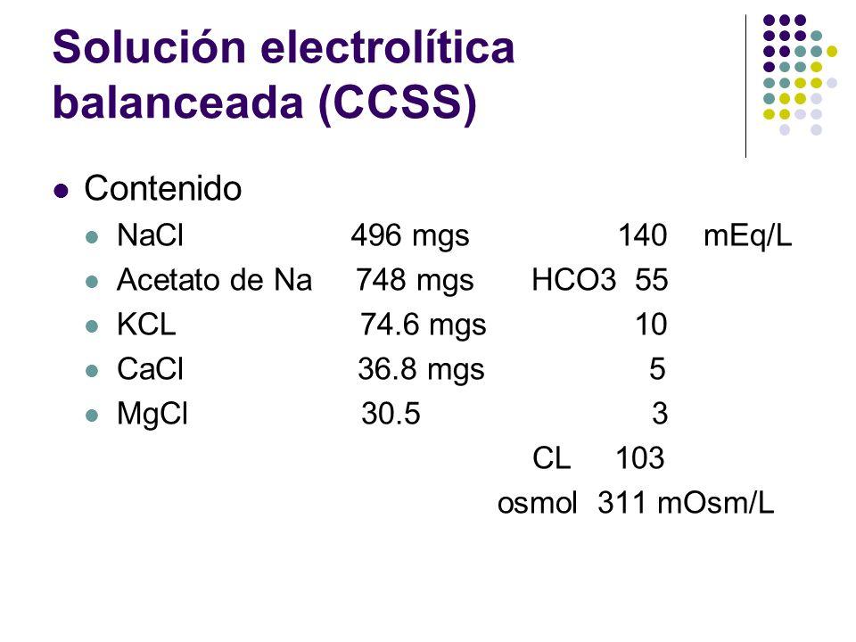 Solución electrolítica balanceada (CCSS) Contenido NaCl 496 mgs 140 mEq/L Acetato de Na 748 mgs HCO3 55 KCL 74.6 mgs 10 CaCl 36.8 mgs 5 MgCl 30.5 3 CL