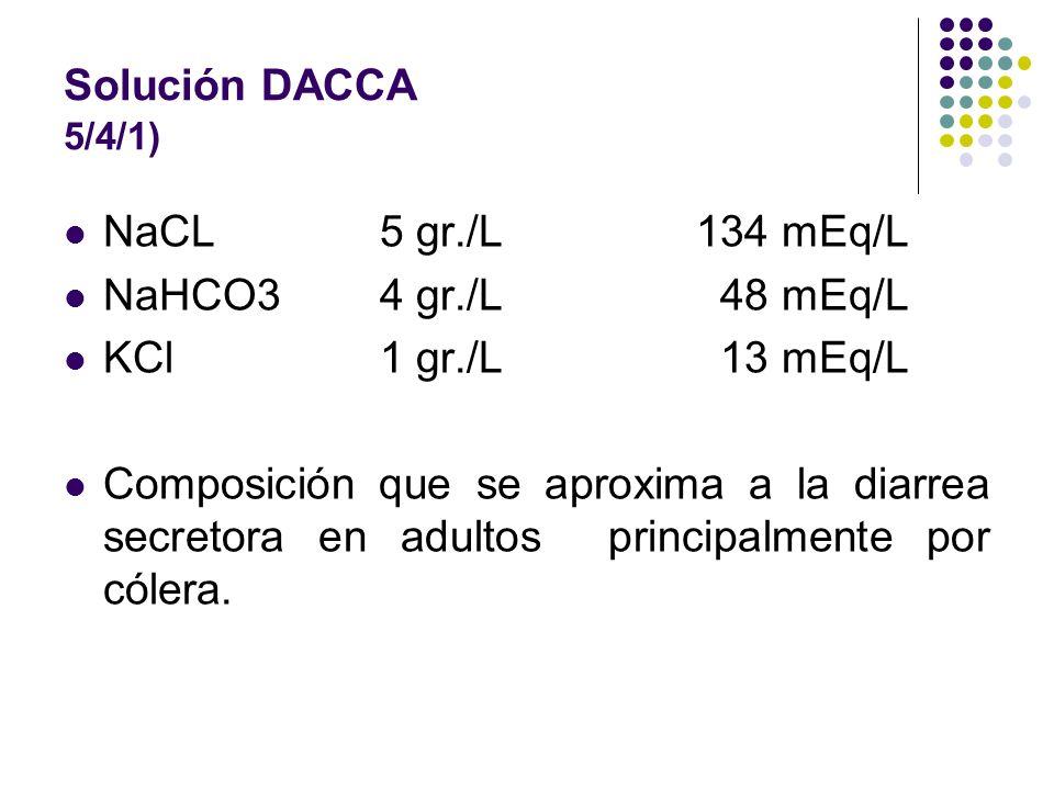 Solución DACCA 5/4/1) NaCL 5 gr./L134 mEq/L NaHCO34 gr./L 48 mEq/L KCl 1 gr./L 13 mEq/L Composición que se aproxima a la diarrea secretora en adultos