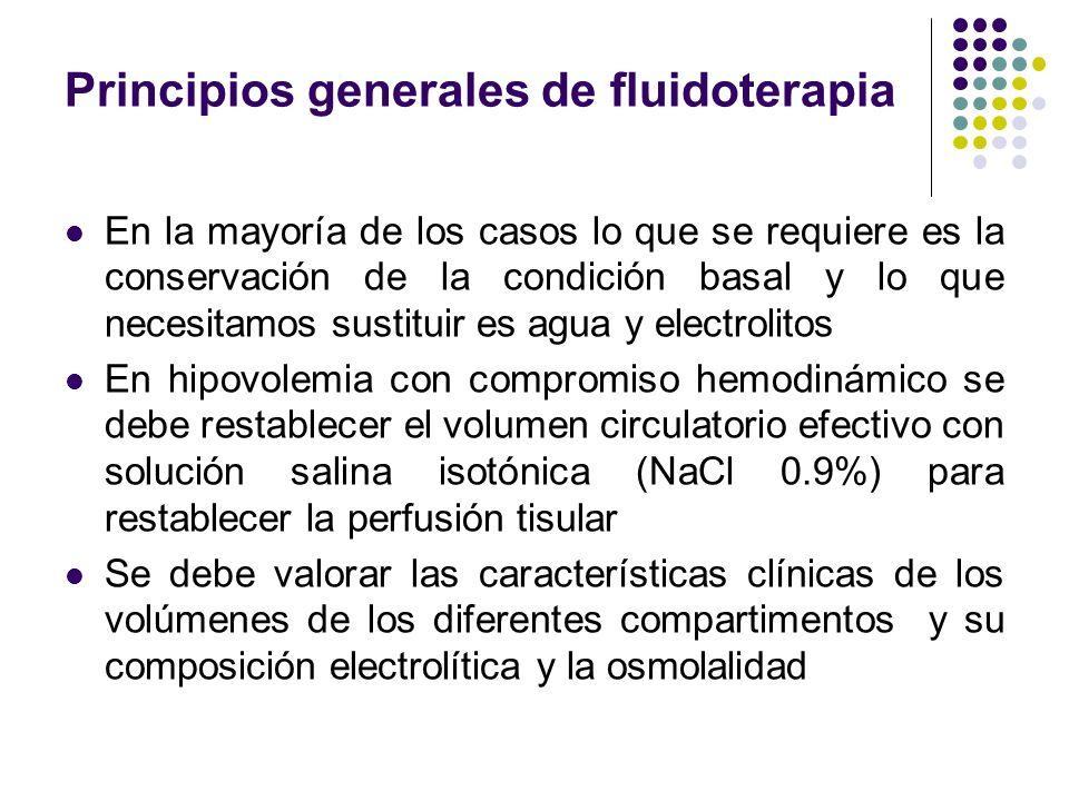 Principios generales de fluidoterapia En la mayoría de los casos lo que se requiere es la conservación de la condición basal y lo que necesitamos sust