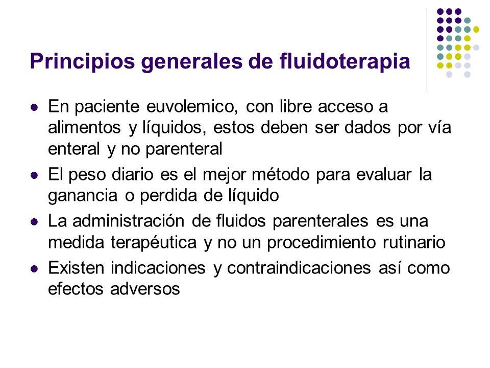 Principios generales de fluidoterapia En paciente euvolemico, con libre acceso a alimentos y líquidos, estos deben ser dados por vía enteral y no pare