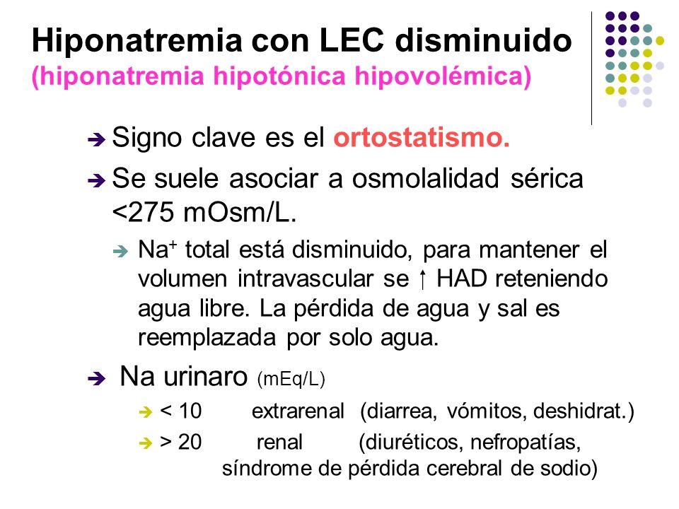 Hiponatremia con LEC disminuido (hiponatremia hipotónica hipovolémica) Signo clave es el ortostatismo. Se suele asociar a osmolalidad sérica <275 mOsm