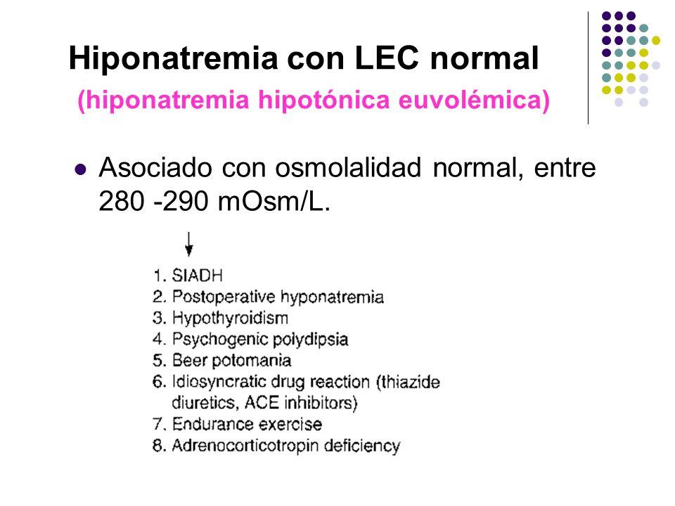 Hiponatremia con LEC normal (hiponatremia hipotónica euvolémica) Asociado con osmolalidad normal, entre 280 -290 mOsm/L.