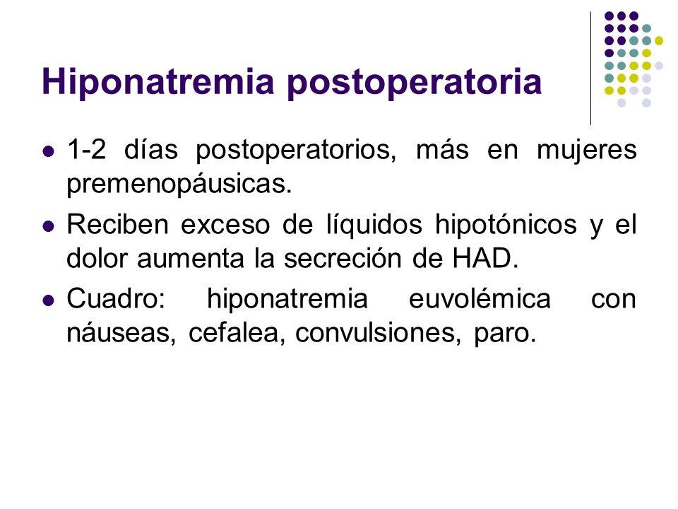 Hiponatremia postoperatoria 1-2 días postoperatorios, más en mujeres premenopáusicas. Reciben exceso de líquidos hipotónicos y el dolor aumenta la sec