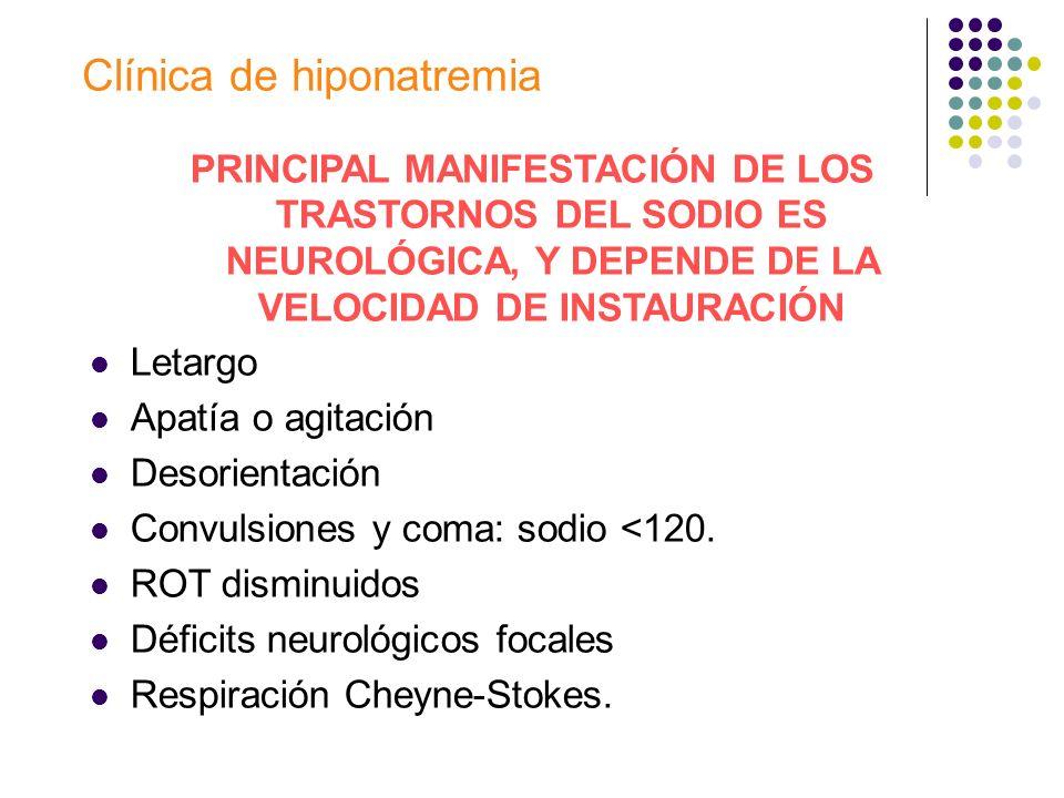 Clínica de hiponatremia PRINCIPAL MANIFESTACIÓN DE LOS TRASTORNOS DEL SODIO ES NEUROLÓGICA, Y DEPENDE DE LA VELOCIDAD DE INSTAURACIÓN Letargo Apatía o