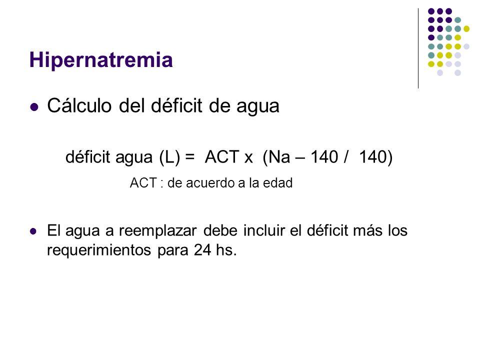 Hipernatremia Cálculo del déficit de agua déficit agua (L) = ACT x (Na – 140 / 140) ACT : de acuerdo a la edad El agua a reemplazar debe incluir el dé