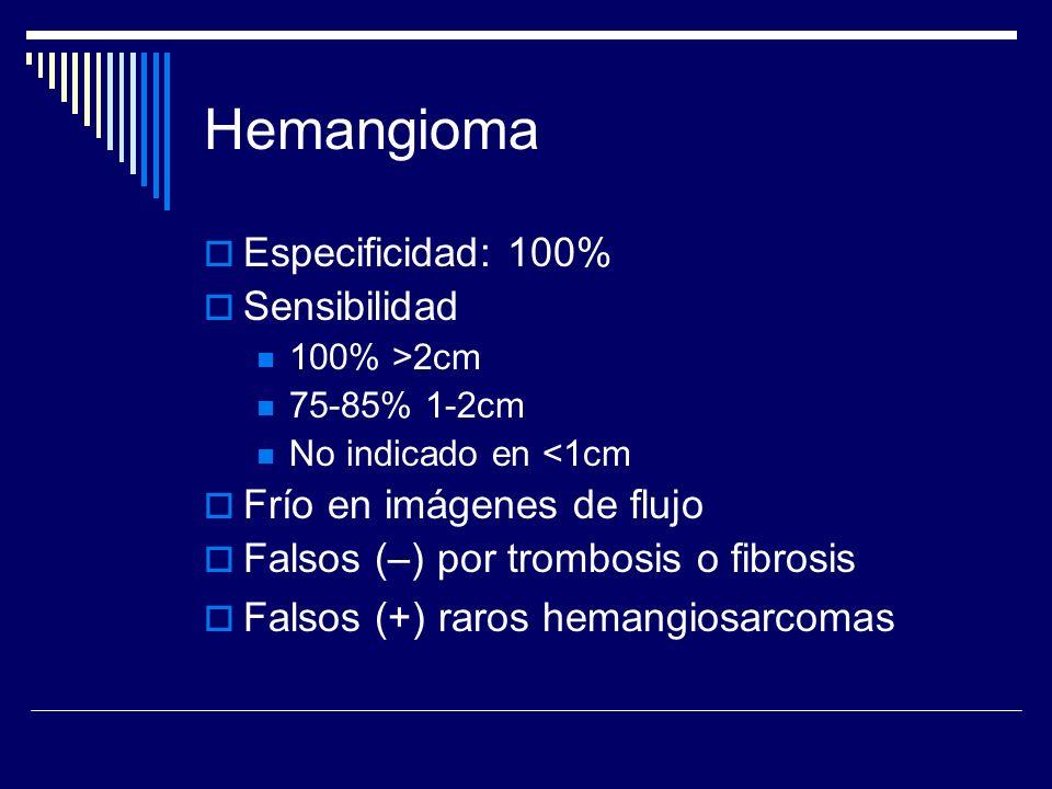 Hemangioma Especificidad: 100% Sensibilidad 100% >2cm 75-85% 1-2cm No indicado en <1cm Frío en imágenes de flujo Falsos (–) por trombosis o fibrosis F